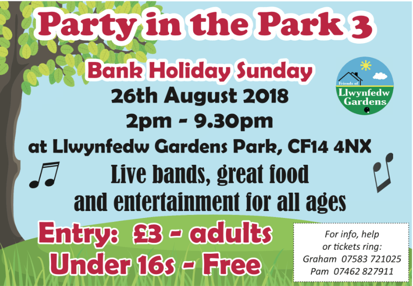 Party in the Park 3 - 26th August 2018 - Llwynfedw Gardens ...